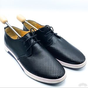 Merkmak | Black Leather Perforated Sneakers